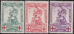 Belgie    .    OBP   .    126/128  ( 2 Scans )       .   **     .   Postfris     .  / .    Neuf SANS Charniere - 1914-1915 Cruz Roja
