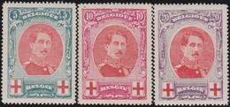 Belgie    .    OBP   .    132/134  ( 2 Scans )       .   **     .   Postfris     .  / .    Neuf SANS Charniere - 1914-1915 Cruz Roja