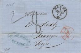 SUISSE 1 ST LOUIS En Rouge Du 2 Septembre 1865 - Marques D'entrées