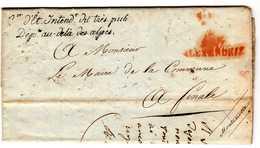ALEXANDRIE POUR FINALE 7 JUILLET 1812 INTENDANCE DU TRESOR IMPERIAL GRIFFE NOIRE ET MARQUE ROUGE - Bolli Militari (ante 1900)