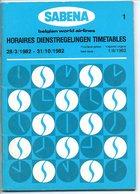 Sabena Time Table Horaire  Dienstregeling Tijdstabel 1982 Vliegtuig Airplane Avion Flugzeug - Horaires