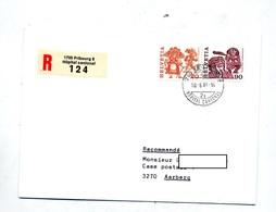 Lettre  Recommandee Fribourg Hopital Sur Folklore - Storia Postale