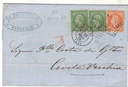 D725 - MARSEILLE 23 FEVR 70 POUR ITALIE - 1862 Napoleon III