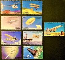 # Uganda 1987**Mi.525-33  Aerospace , MNH [20;166] - Vliegtuigen