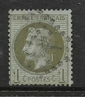 France, 1870, 1 Cent Olive-green On Blueish, Used - 1863-1870 Napoleon III With Laurels
