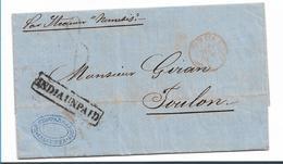 IB061 / INDIEN (Brit.) Calcutta 1838 INDIAUNPAID Nach Toulon, Frankreich - ...-1852 Prephilately