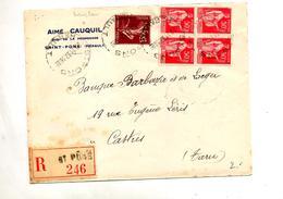 Lettre Recommandee Saint Pons Sur Paix Semeuse - Marcophilie (Lettres)