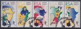 Afrique Du Sud N° 896 / 900 O  : Coupe D'Afrique Des Nations De Football.  Les 5 Valeurs Se Tenant, Oblitérées Sinon TB - Oblitérés