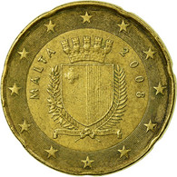 Malte, 20 Euro Cent, 2008, TTB, Laiton, KM:129 - Malta