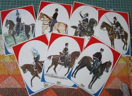 Serie Carabinieri A Cavallo Set 7 Cartoline ViceBrigadiere Luogotenente REgno Di Sardegna - Manovre