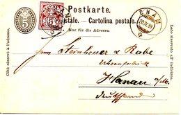 SUISSE. Carte Pré-timbrée Ayant Circulé En 1889 Avec Complément Pour L'Allemagne. De Cham à Destination D'Hanau. - 1882-1906 Stemmi, Helvetia Verticalmente & UPU
