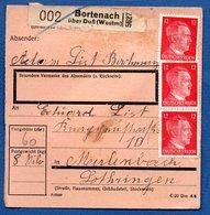 Colis Postal /  Départ Bortenach - Bourdonnay Près Dieuze  / 10-9-43 - Covers & Documents