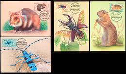 Moldova 2019 Red Book Of Moldova Beetles Insects Rodents 4 Maxicards - Moldova