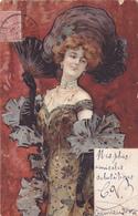 CPI Art Nouveau - Carte Illustrée FEMME Au Chapeau Et à L'éventail En 1905 - Illustrateur ? - Illustrateurs & Photographes