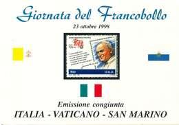 ITALIA - GIORNATA DEL FRANCOBOLLO FOLDER EMISSIONE 1988 CONGIUNTA - ITALIA - SAN MARINO - VATICANO - 3 FDC - 6. 1946-.. Repubblica