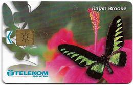 Malaysia - Telekom Malaysia (chip) - Butterflies - Rajah Brooke, (Chip Gemplus Not Symmetric Gold), 10RM, Used - Malasia