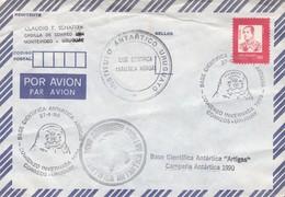 AIRMAIL ENVELOPPE SPECIAL OBLITERATION INSTITUTO ANTARTICO URUGUAYO BASE CIENTIFICA ANTARTICA ARTIGAS 1990 - BLEUP - Basi Scientifiche