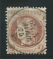 FRANCE: Obl., N° YT 51d, Rouge-brun, Fond Ligné, 1 Dt Crte, B - 1871-1875 Cérès