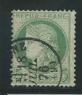 FRANCE: Obl., N° YT 53f, Vert-jaune, Fond Ligné, Beau Cad, TB - 1871-1875 Cérès