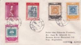 ENVELOPPE CIRCULEE 1958 PERU A BUENOS AIRES MIXED STAMPS: CENTERNARIO PRIMER SELLO POSTAL PERUANO 1857-1957- BLEUP - Perù