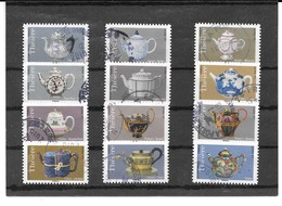 FRANCE 2018  LES THEIERES  SERIE COMPLETE DE 12 TIMBRES AUTOADHESIFS CACHETS RONDS. - France