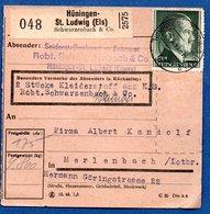 Colis Postal /  Départ Hüningen - St Ludwig / Huningue  / 28-6-43 - Alemania