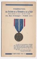 DOCUMENT DEPLIANT Féderation Des Anciens De La Rhenanie Et De La Ruhr 66 Rue Erlanger Paris XVI - Old Paper