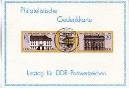 """(Gm-2) DDR Priv. Philatelistische Gedenkkarte """"Letztag Für DDRPostwertzeichen"""", MiF DDR Mi 3118/19 TSt. 02.10.90 SCHWEDT - [6] République Démocratique"""