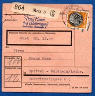Colis Postal /  Départ Metz / Pour Spittel - Waldheim - Germany