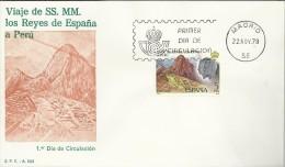 ESPAÑA SPD FDC VISITA DE LOS REYES A PERU MACHU PICHU ARQUEOLOGIA - Arqueología