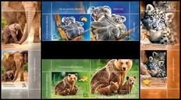 ROMANIA, 2019, WILD CUBS, Elephant, Koala, Leopard, Brown Bear, Set Of 4 + Label, MNH (**); LPMP 2228 - 1948-.... Républiques