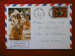 POLYNÉSIE ENVELOPPE ILLUSTRÉE CACHET BUREAU POSTAL MILITAIRE 703 - Marcophilie (Lettres)