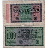 Lot De 2 Billets Allemand 1 De 1000 Marks 1922 Et 1 De 20000 Marks 1923 - 20000 Mark