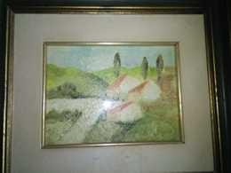 Paesaggio Cm.18,5 X 14 Cm  Dipinto Ad Olio, Con Cornice Coeva ( Autore Sconosciuto) - Olii