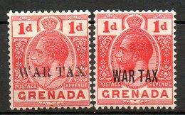 GRENADE - (Colonie Britannique) - 1916 - N° 81A Et 82 - 1 P. Rouge (Type I Et II) - (George V) - America Centrale