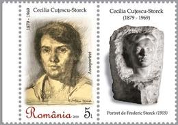ROMANIA, 2019, CECILIA CUTESCU-STORCK, Art, Sculpture, Women, 1 Stamp + Label, MNH (**); LPMP 2231 - 1948-.... Républiques