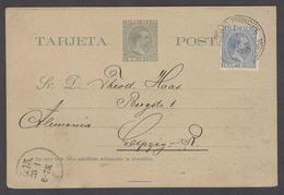 CUBA. 1895 (8 Enero). Puerto Principe - Alemania (25 Enero). Tarjeta Entero Postal 2c Verde Sello 1c Azul Mat Fechador. - Cuba