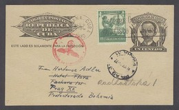 CUBA. 1940 (5 Feb). Habana - Prag / Czechoslovakia / Nazi Occupied (18 MArch). 1c Block Stat Card + Adtl With German Cen - Cuba