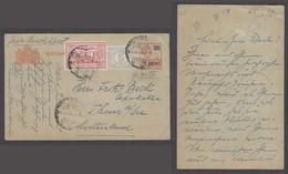 DUTCH INDIES. 1929 (17 Dec). Palembang - Switzerland. 5c Ovptd 7 1/2c Grey Stat Card. Airmail + 2adtls. VF Scarce Item. - Niederländisch-Indien