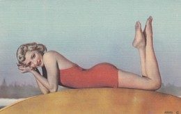 Pin-up Girl , Red Bathing Suit , 30-40s - Pin-Ups
