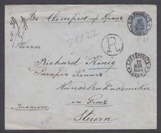 RUSSIA. 1894 (15 Nov). St Petersburg - Austria / Graz (30 Nov). Reg 20 Kop Blue Stat Env Cds. Superb Cond VF Appeal. - Russie & URSS