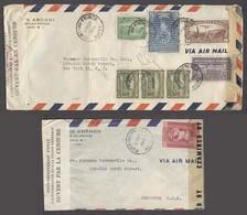 HAITI. 1943-4. P An Prince - USA. 2x Air Doble Censored Multifkd Env. High Rates. - Haiti