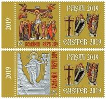 ROMANIA, 2019, EASTER, Religion, Painting, Icons, Cross, Crucifix, Set Of 2 Stamps + Label, MNH (**); LPMP 2232 - 1948-.... Républiques