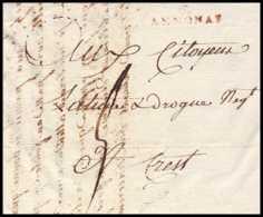 9007 LAC Annonay 6 Ardeche Pour Crest Drome 17/5/1798 Marque Postale Lineaire 28x7 Rouge France Lettre Cover - Marcophilie (Lettres)