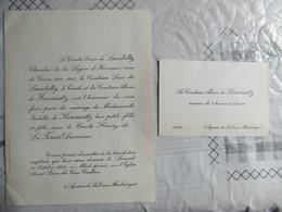 PARIS 2 SQUARE DE LA TOUR MAUBOURG LE 30 OCTOBRE 1954 LE COMTE HENRY DE LA FOREST DIVONNE Mlle ISABELLE DE KEROÜARTZ - Mariage