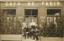 Theme Div:ref BB388- Carte Photo -wassy - Haute Marne  -cafés - Café De Paris -pariset -une Partie De Cartes A Jouer - - Wassy