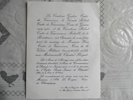 PARIS LE 12 JANVIER 1963 MONSIEUR YVES TRUTIE DE VAUCRESSON CROIX DE LA VALEUR MILITAIRE ET MADEMOISELLE CHANTAL FLOQUET - Mariage