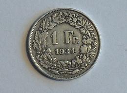 Suisse Switzerland 1 Franc Argent Silver 1934 - Suiza