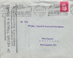 Germany Deutsches Reich KAUTSCHUKWERKE Dr. Heinr. TRAUN & SÖHNE Slogan 'Ship, Schiff' HAMBURG 1929 Cover Brief STUTTGART - Deutschland
