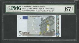 "GREECE: ""Y"" 5 EURO Duisenberg Signature PMG 67 Superb GEM UNC!! (Exceptional Paper Quality-EPQ)! Printer P005H2 - 5 Euro"